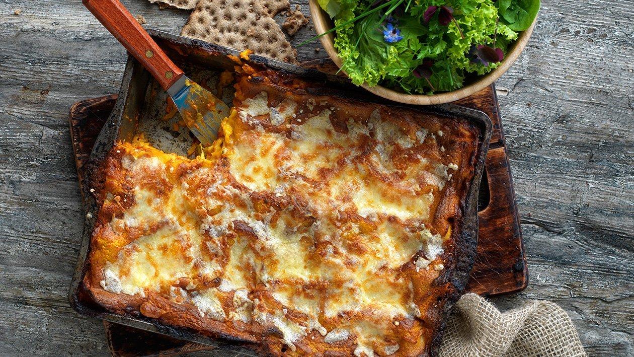 Vegetarisk lasagnette med rotfrukter och linser, klimatsmart mat