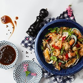 ซีฟู้ดผัดพริกไทยดำ