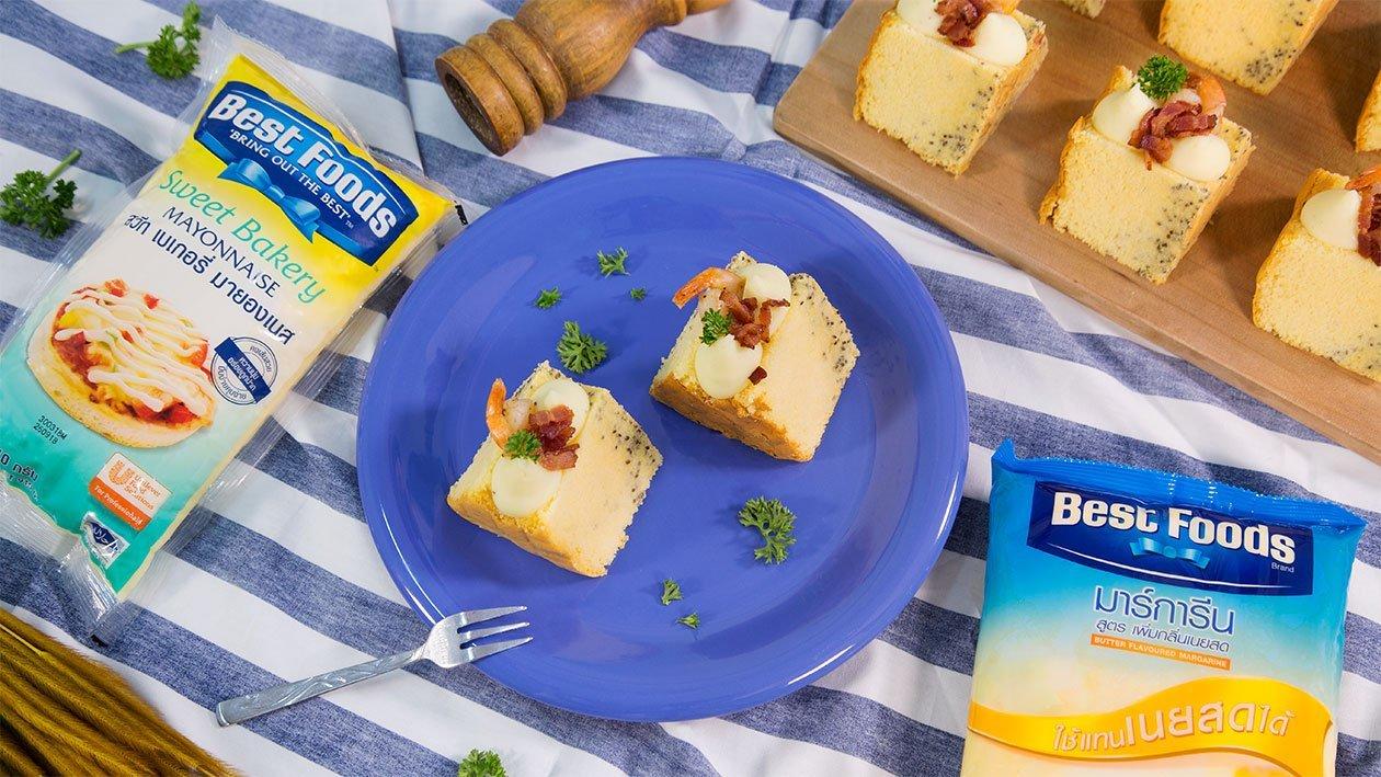 เค้กเมล็ดเจียกับมันบดมายองเนส