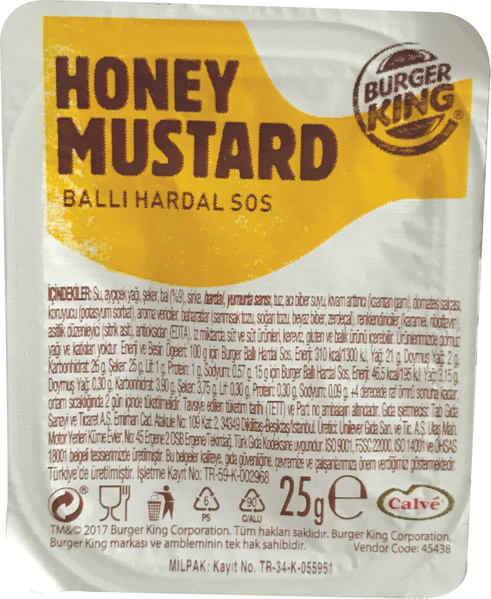 Burger King Honey Mustard 25 Gr