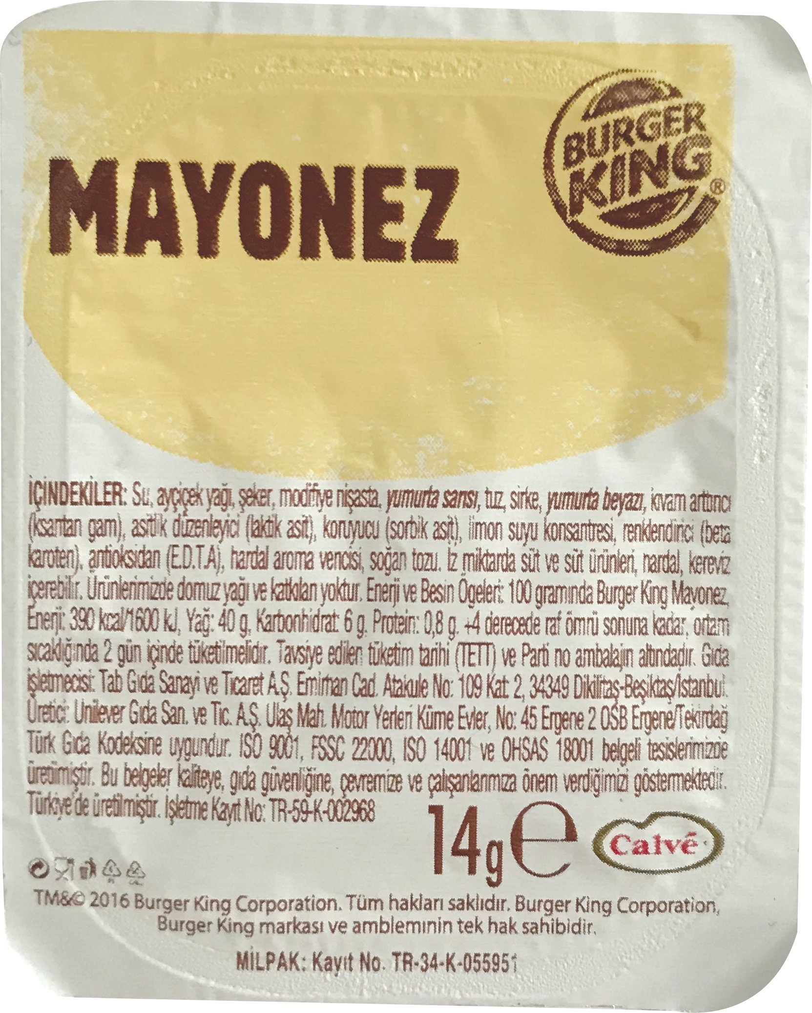 Burger King Mini Mayonez 14 G 120 Adet Unilever