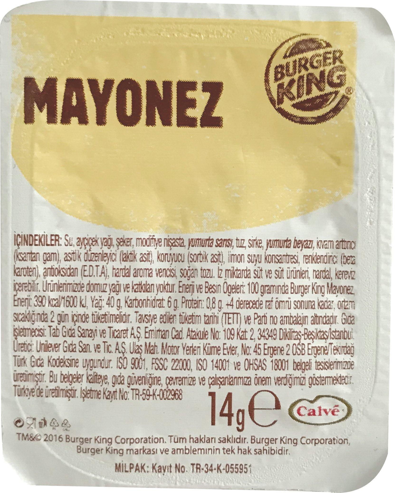 Burger King Mini Mayonez 14 G 120 Adet Unilever -
