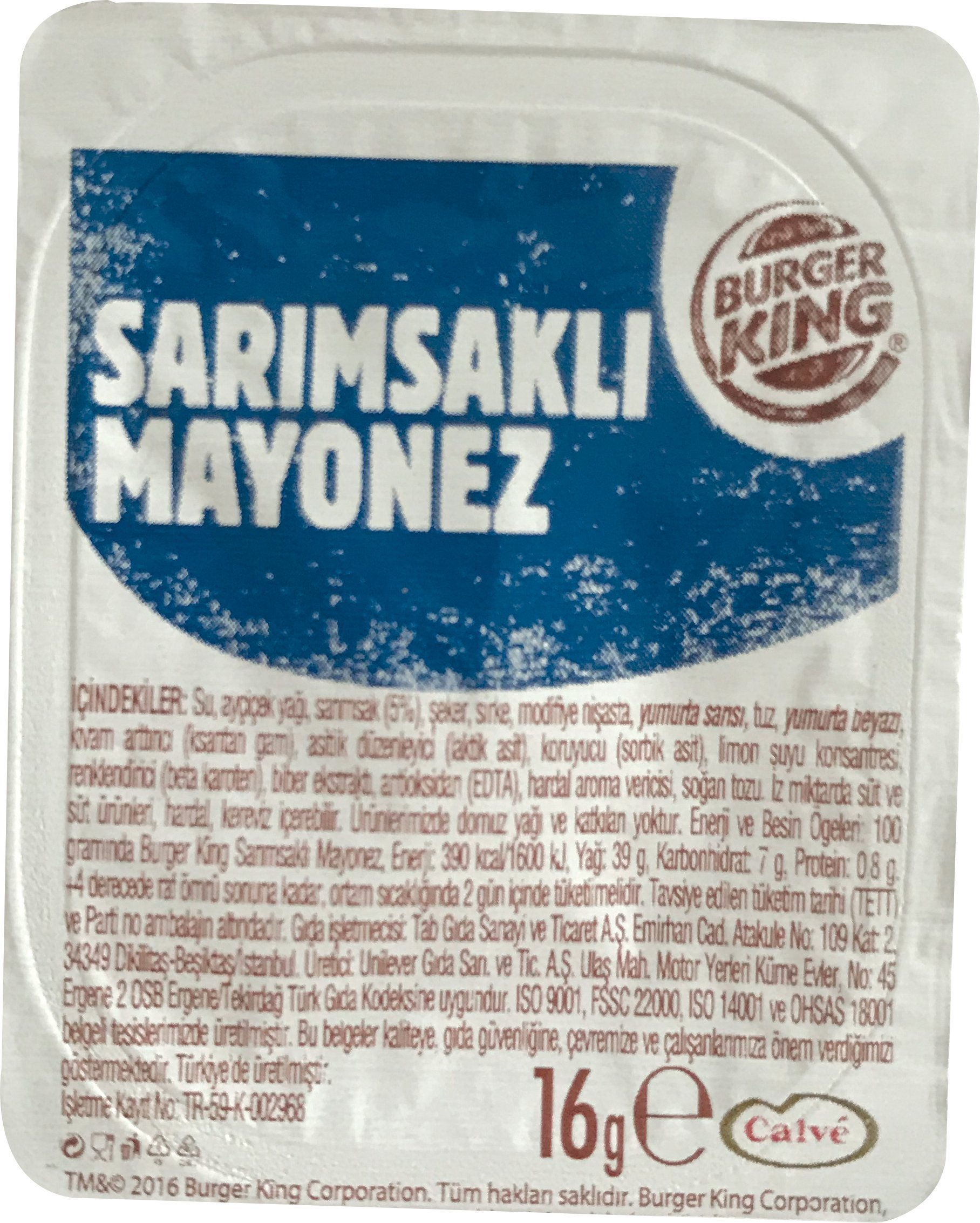 Burger King Sarimsakli Mayonez 16gr