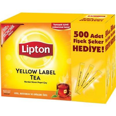 Lipton Yellow Label Bardak Poşet Çay 500'lü + 500 Adet Fişek Şeker Hediye -