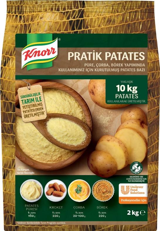 Knorr Pratik Patates 2 Kg - Yeni Knorr Pratik Patates. Tarladan özenle seçilmiş yüksek kaliteli patatesleri sizler için topluyor, yıkıyor, soyuyor, doğruyor ve kurutuyoruz. Gerisini siz usta ellere bırakıyoruz.