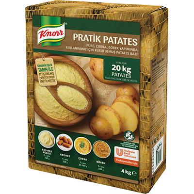 Knorr Pratik Patates 4 Kg - Yeni Knorr Pratik Patates. Tarladan özenle seçilmiş yüksek kaliteli patatesleri sizler için topluyor, yıkıyor, soyuyor, doğruyor ve kurutuyoruz. Gerisini siz usta ellere bırakıyoruz.