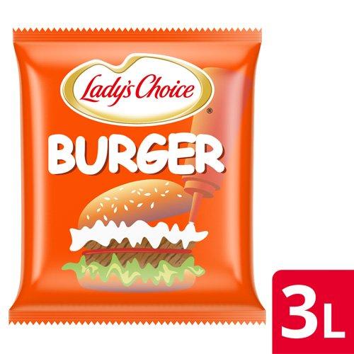 Lady's Choice Xốt Mayo Burger 3L - Mayonnaise Lady's Choice Burger được làm từ nguyên liệu từ nhiên, hương vị thơm ngon, cân bằng cho các món burger, pha chế nước chấm hay trộn salad.