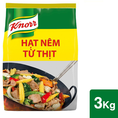 Knorr Hạt Nêm 3kg - Knorr Hạt Nêm Từ Thịt được làm từ thịt thăn, xương ống và tủy giúp món ăn thơm ngon, tròn vị