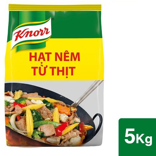 Knorr Hạt Nêm 5kg - Knorr Hạt Nêm Từ Thịt được làm từ thịt thăn, xương ống và tủy giúp món ăn thơm ngon, tròn vị