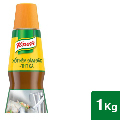 Xốt nêm đậm đặc - thịt gà Knorr 1kg - Xốt nêm đậm đặc - thịt gà Knorr, gấp 10 lần hàm lượng thịt gà*, cho hương vị thêm đậm đà, sẵn sàng cùng bạn chinh phục mọi giới hạn hương vị
