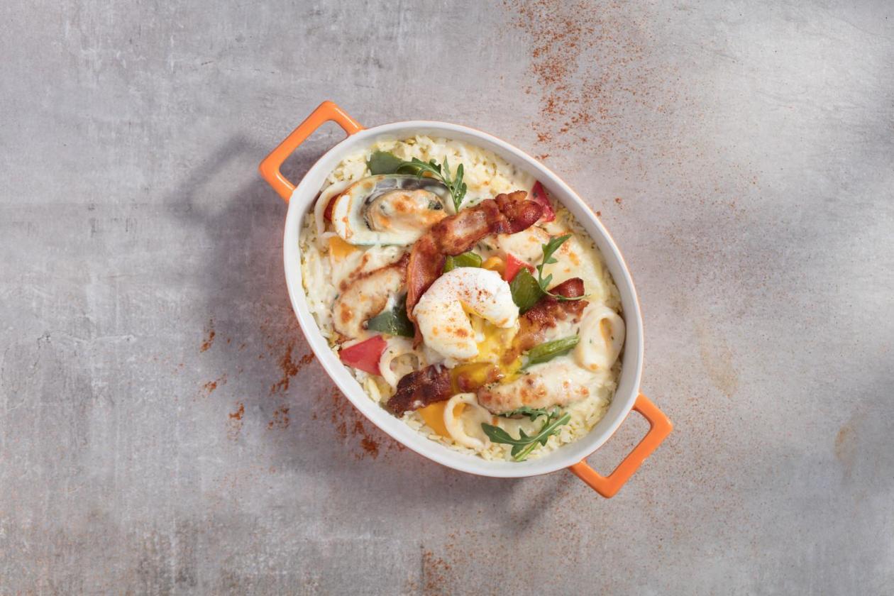 半熟蛋海鮮煙肉焗飯 – 食譜詳情