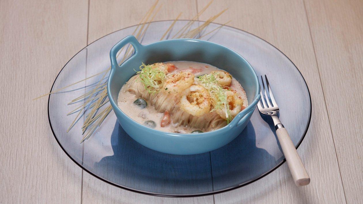 榛子海鮮湯天使麵配炸魷魚圈 – 食譜詳情