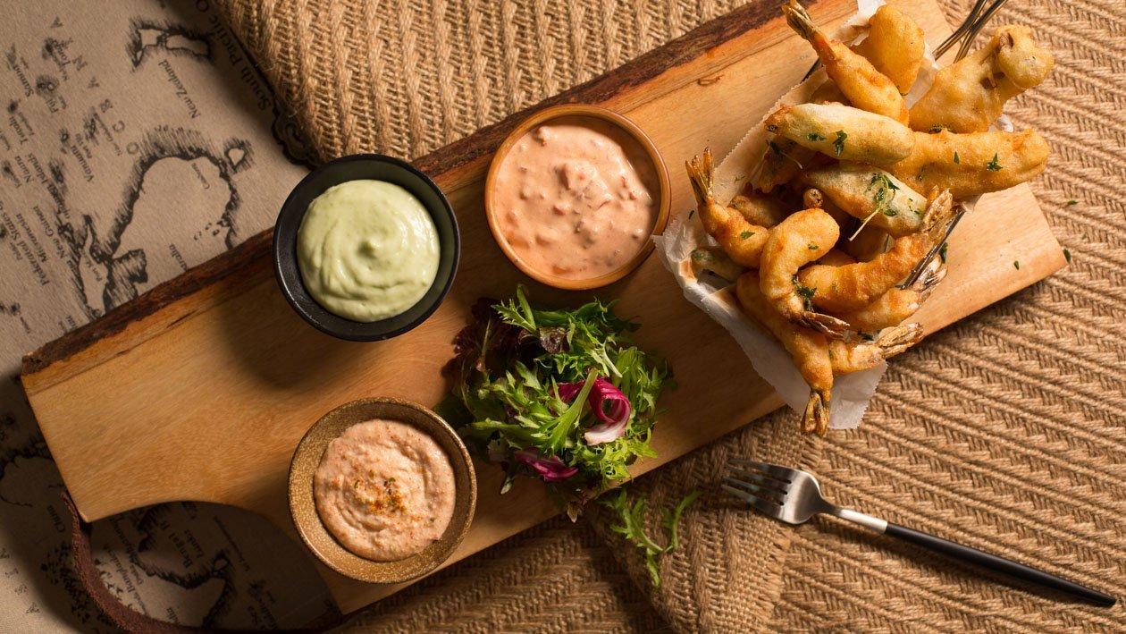 脆炸大蝦、雞脾菇、秋葵沾蜜糖青芥醬+蕃茄沙律醬,明太子沙律醬 – 食譜詳情