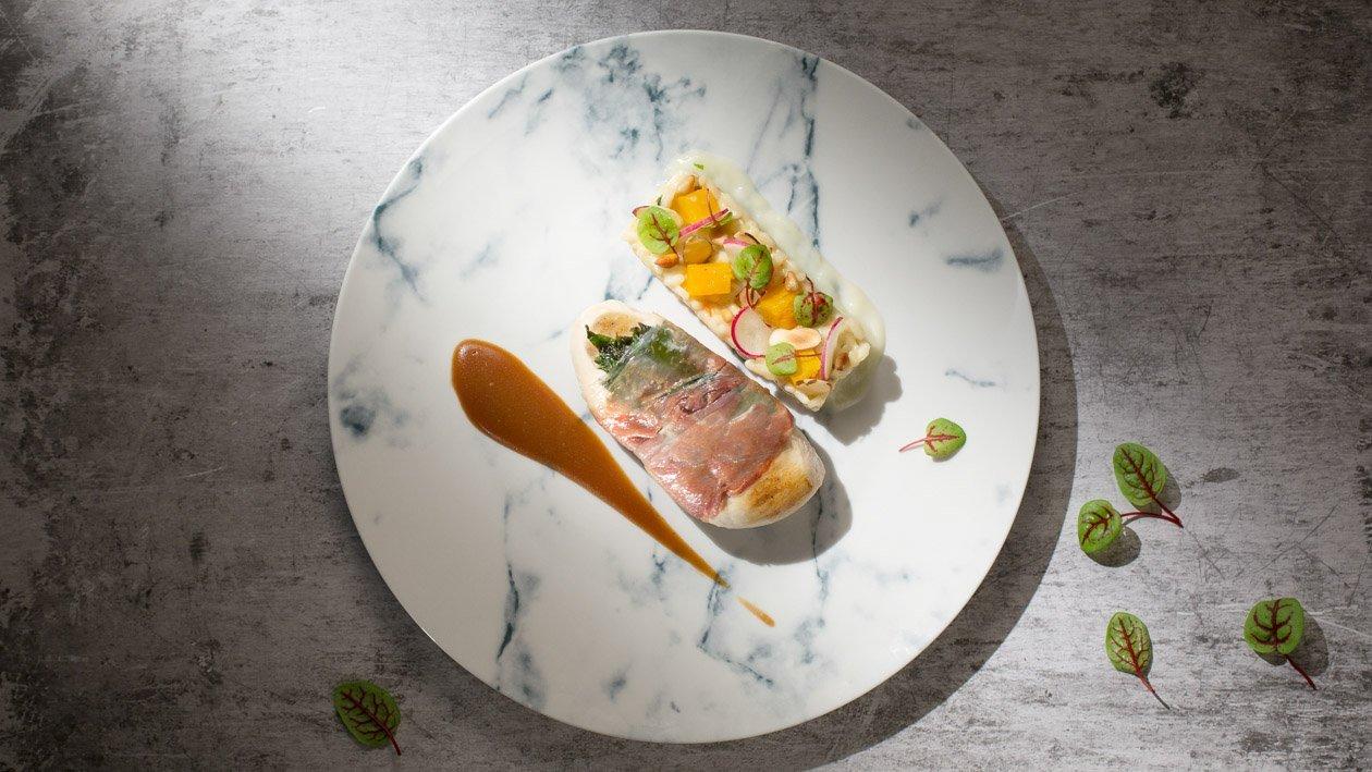 香煎風乾火腿雞肉卷配卡邦尼意大利飯 – 食譜詳情