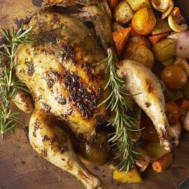 烤鸡配烤根茎蔬菜和奶油酸辣酱