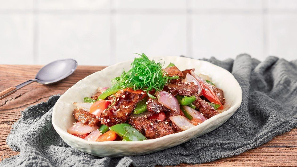 烧汁彩椒炒素牛肉片