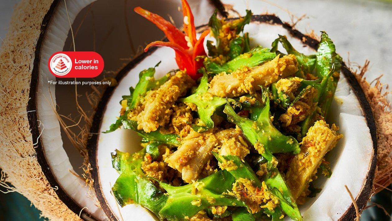 牛肚沙拉配龙豆、椰丝和亚洲香料