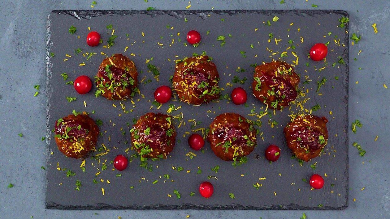 蔓越莓酱烧烤牛肉丸