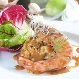 扒明蝦牛肝菌燉飯