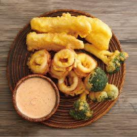 炸酥脆什錦海鮮佐黃金魚籽泡菜醬