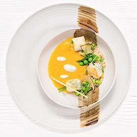 牛肝菌風味香橙南瓜湯搭配低溫烤鱈魚及藜麥 (簡化版)