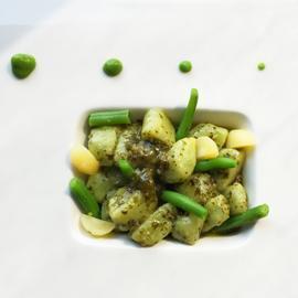 雷克塔起司麵疙瘩佐香蒜青汁伴法式四季豆及馬鈴薯