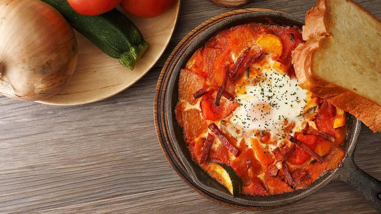 南法燉蔬菜、蛋、西班牙臘腸