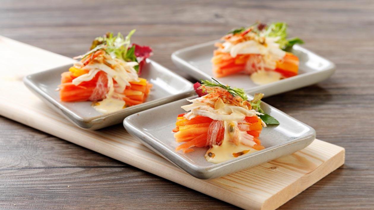 櫻花蝦百香木瓜沙拉