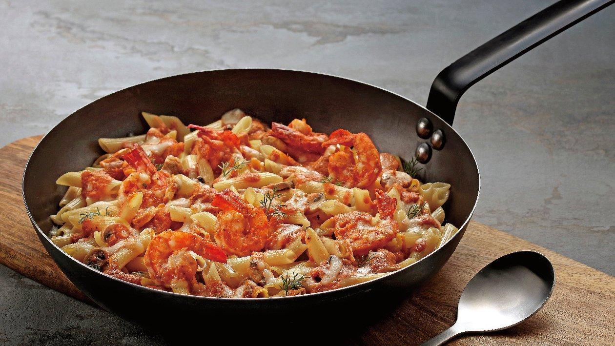焗烤鮮蝦洋菇粉紅醬筆尖麵