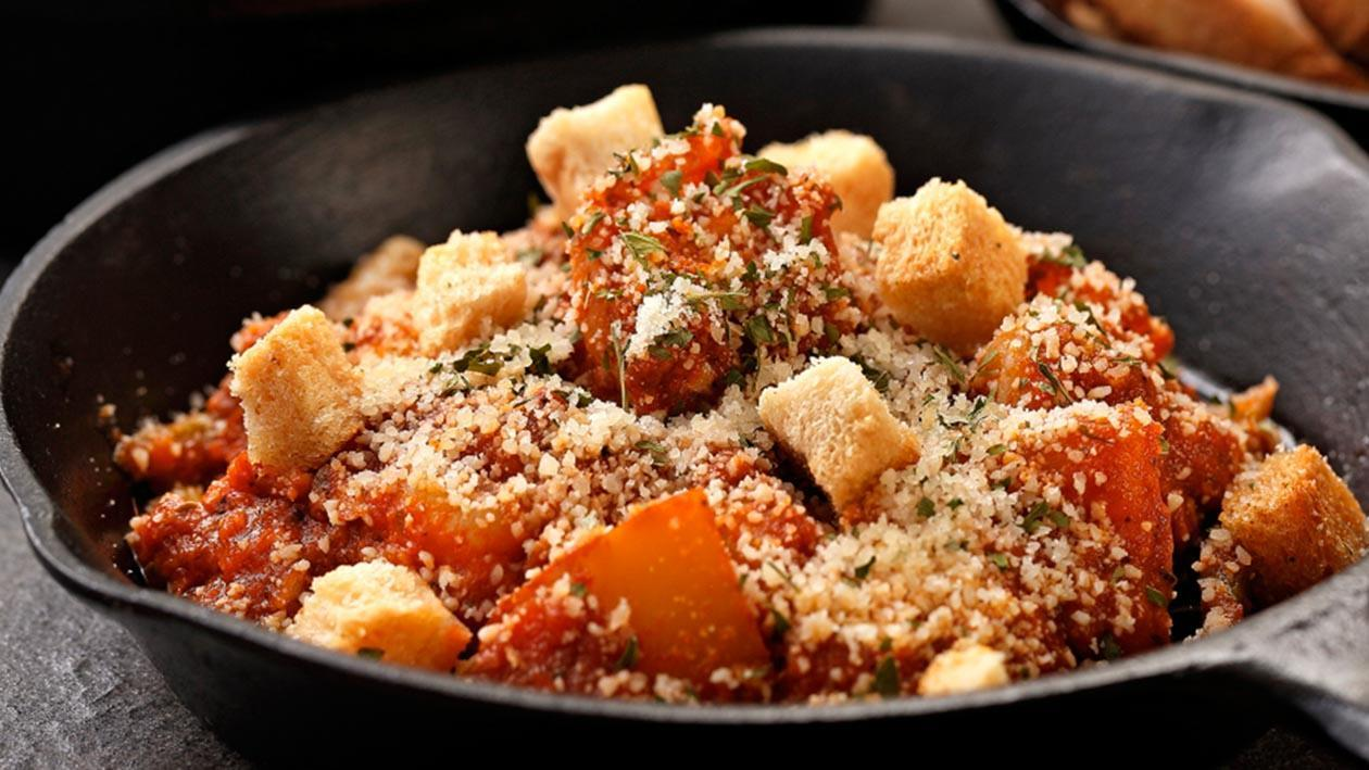 特製茄醬鯷魚蝦仁佐香蒜雞肉洋芋