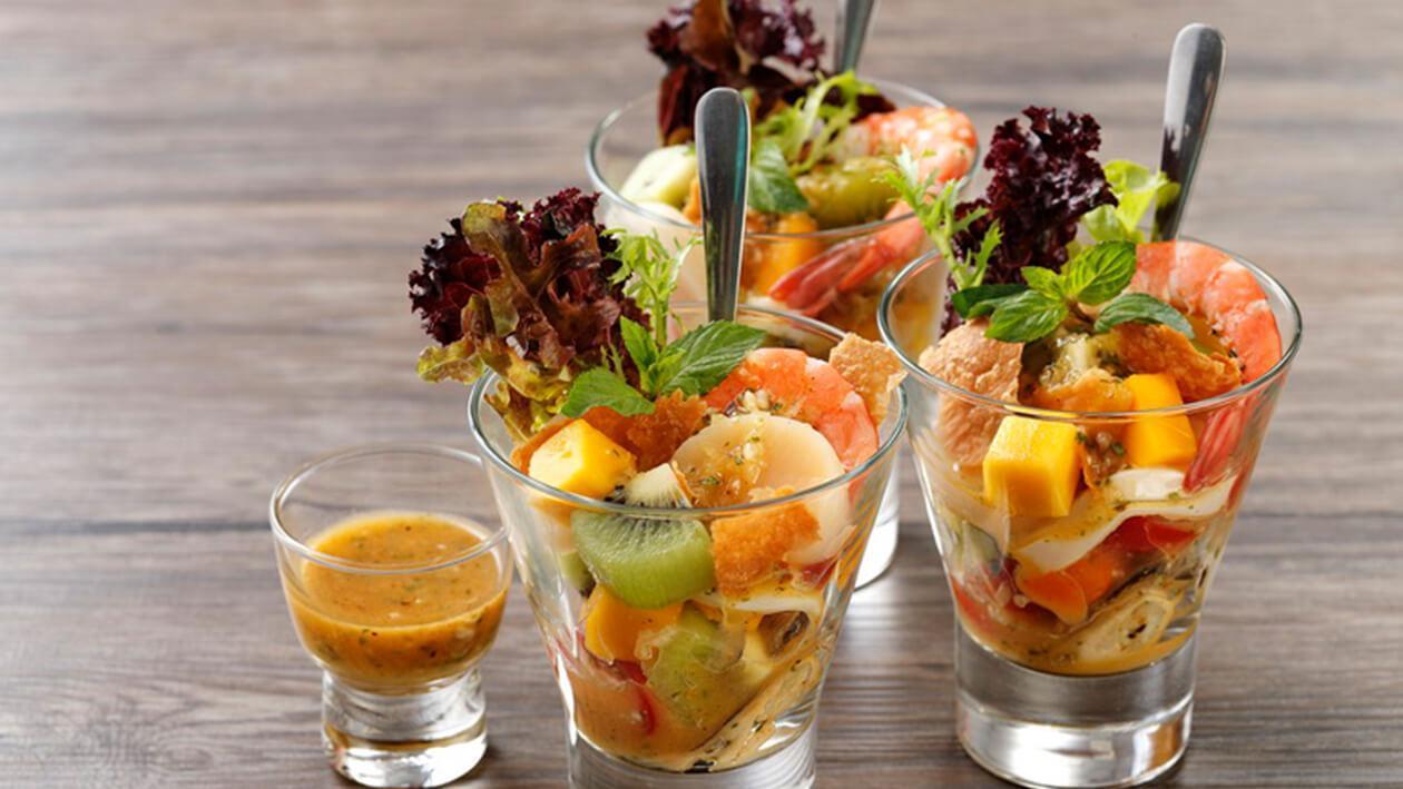 玉米脆餅海鮮橙汁沙拉