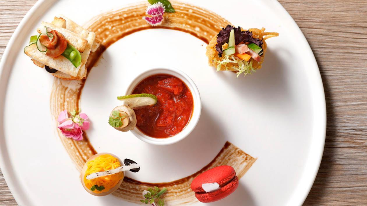 義式蕃茄燉洋菇搭茄香馬卡龍