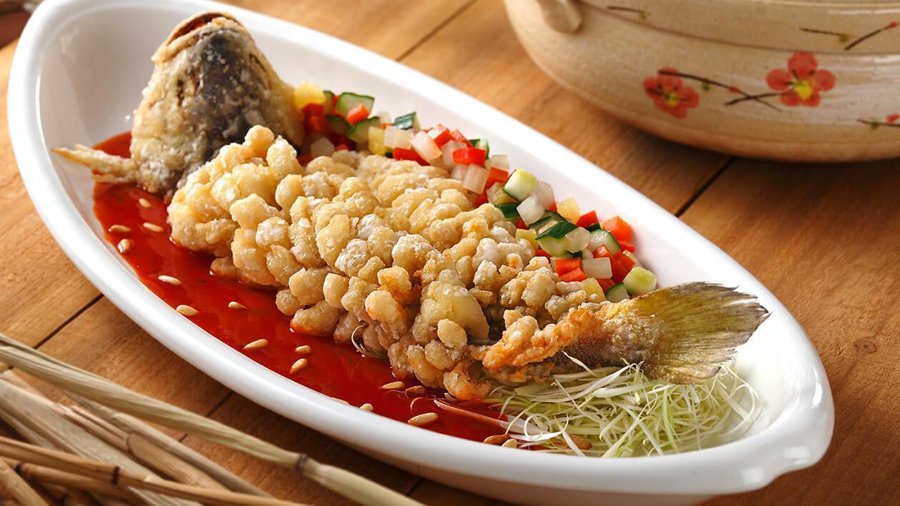 茄汁五柳燒黃魚