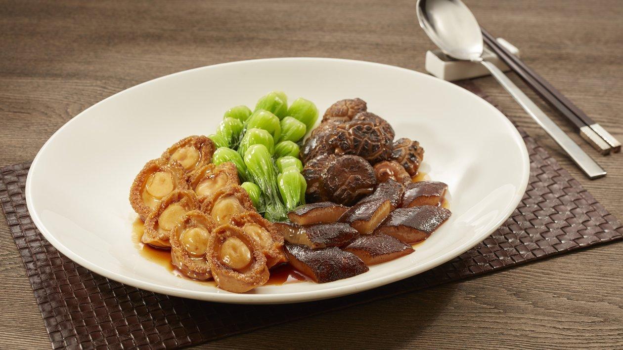 雙蠔蠔油冬菇鮑魚燴海參