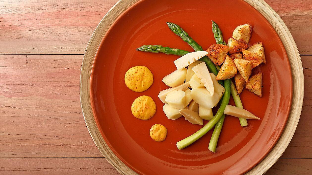 鮮筍香蒜法包佐咖哩明太子沙拉