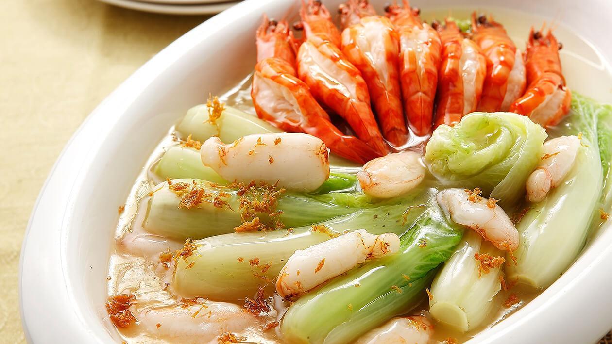 鮮蝦蟹肉扒菜膽