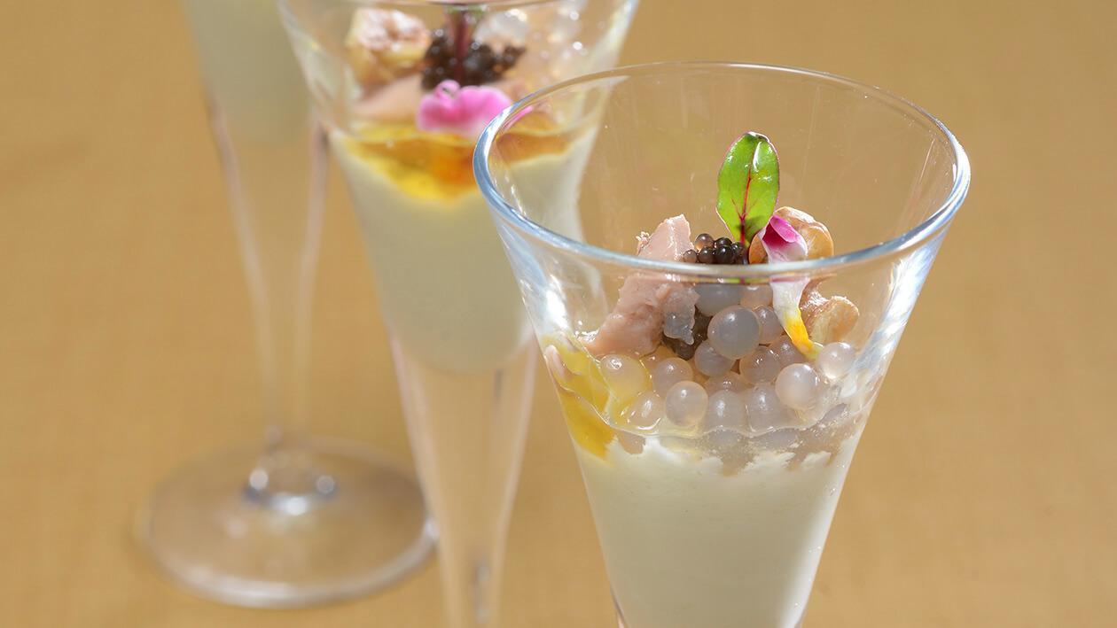 鱈魚肝原味優格佐綠茶干貝魚卵